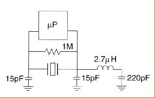 circuit configuration 40.320MHz third overtone crystal oscillator